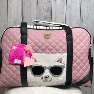 Betsey Johnson Cat Weekender Travel Bag & Wristlet